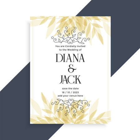 decorative wedding card invitation template design Vettoriali