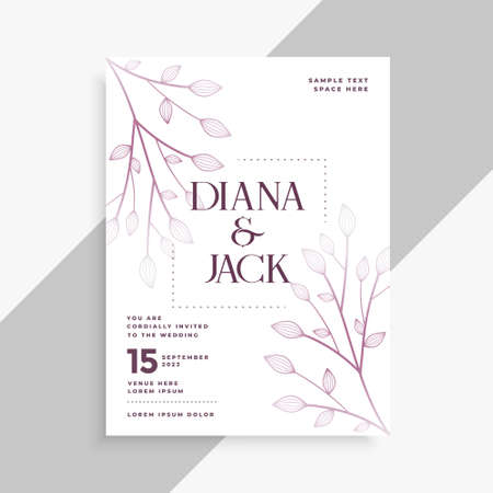 leaves decorative wedding flyer template design Vettoriali