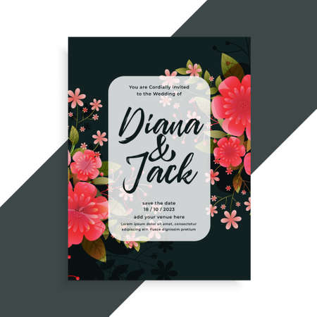 lovely flowers decorative wedding card design template