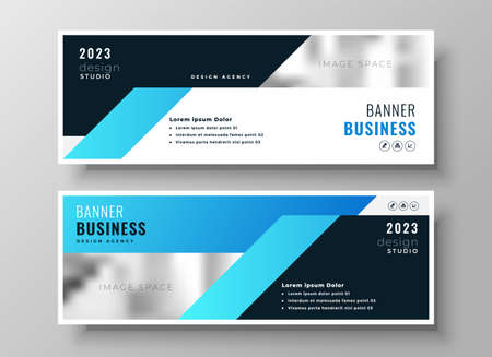 two blue business modern corporate banners design