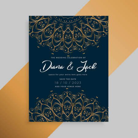 luxury mandala style wedding invitation card template