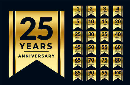 ribbon style anniversary golden labels or emblems set