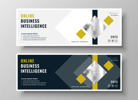 professional business geometric banner template design Vettoriali
