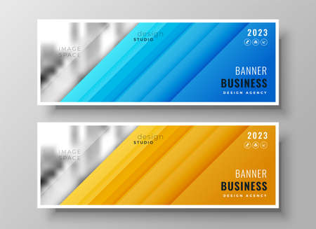 modern wide business banners set of two Vettoriali