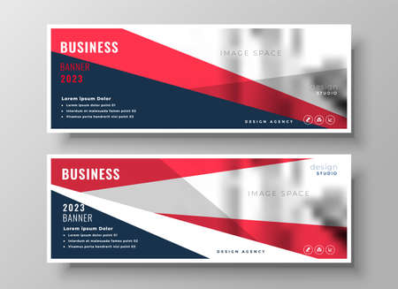 red geometric business presentation banner template design Vettoriali