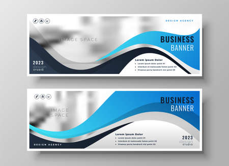 modern wavy business blue wide banners set of two Vettoriali
