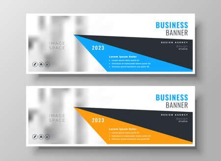 wide geometric business corporate banners set of two Vettoriali