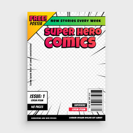 super comics cover page template design background