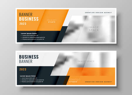 orange business banners set of two Vettoriali