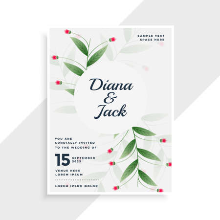 beautiful leaves style wedding invitation template design