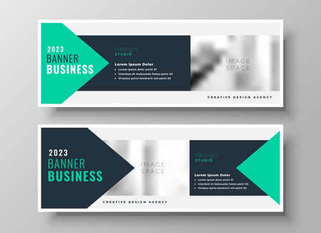 turquoise geometric business presentation banner design template