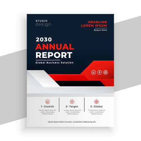 modern business annual report brochure in red color theme