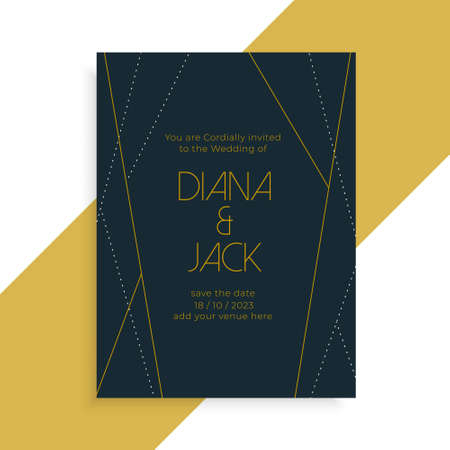 geometric line style wedding invitation dark template design