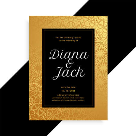 luxury golden and black wedding card invitation template Vettoriali