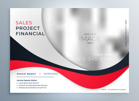 red wavy business presentation modern template design