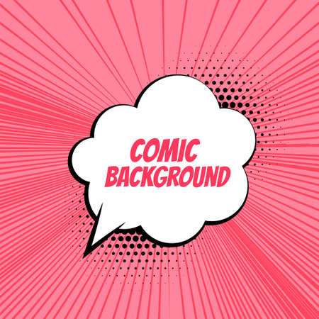 comic background with zoom lines and chat bubble Vettoriali