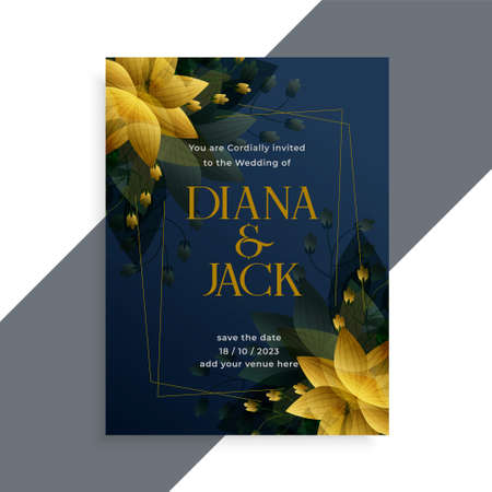 golden flower style dark wedding invitation template design