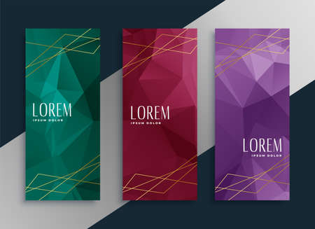 abstract low poly style premium banners set Vettoriali
