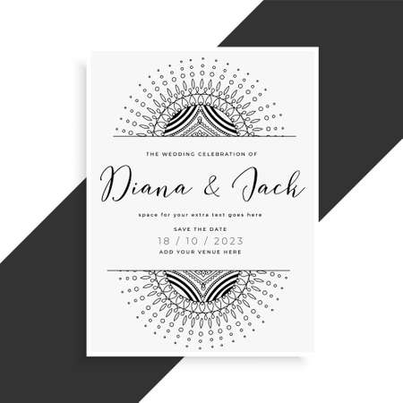 mandala style wedding template card for invitation