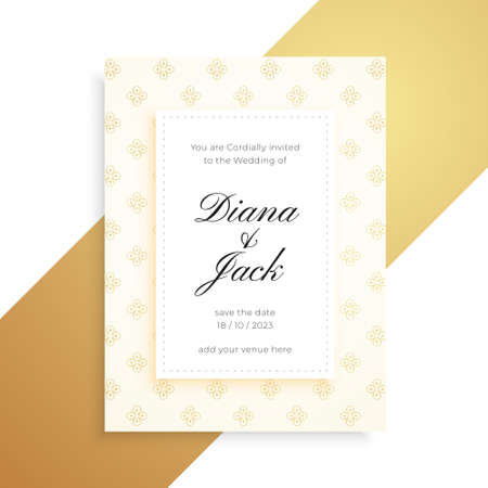 premium golden pattern beautiful wedding card design