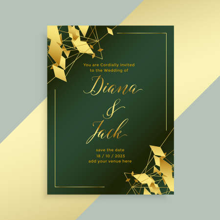 abstract golden style wedding flyer template design Vettoriali