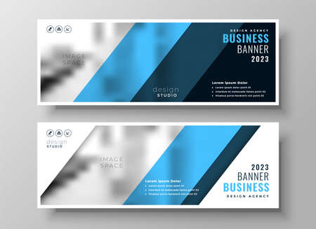 modern blue professional business banners set of two