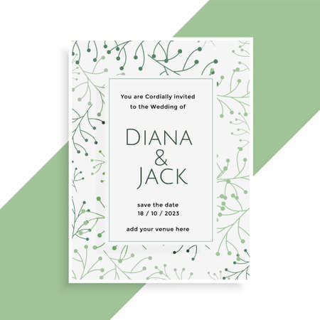 wedding card design with stylish leaves pattern