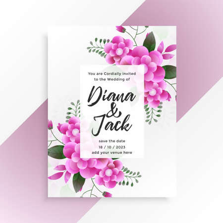 beautiful pink flower wedding invitation template design Vettoriali