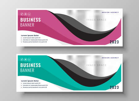web business wavy banner template presentation design