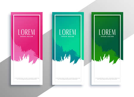 abstract three vertical banner with text space Vettoriali