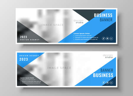 blue geometric business banner template design