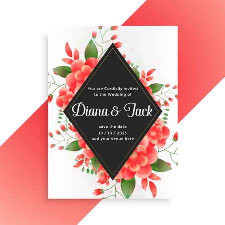 flower decorative wedding invitation card template design