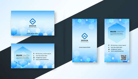 blue hexagonal medical style business card template design