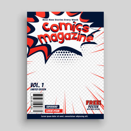 comic magazine cover page template design