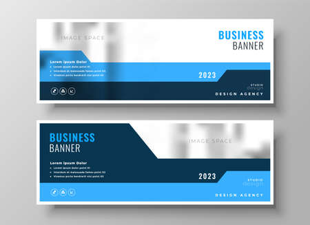 business corporate blue wide banners design template Vettoriali