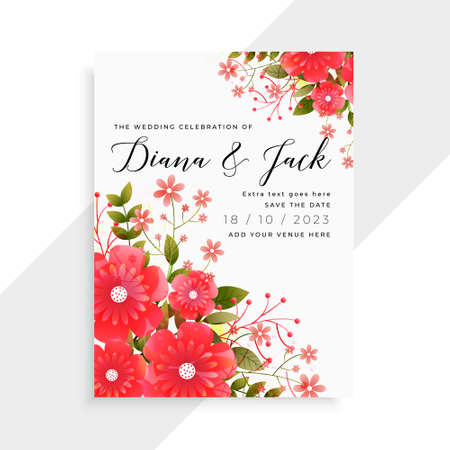 lovely red flower wedding card template design