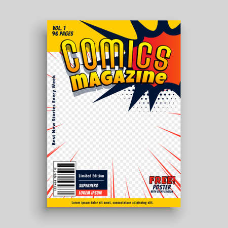comic magazine presentation book cover template design