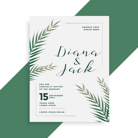 leaves theme wedding card invitation template design Vettoriali