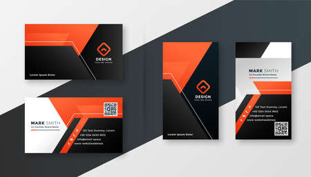 black and orange modern business card geometric design