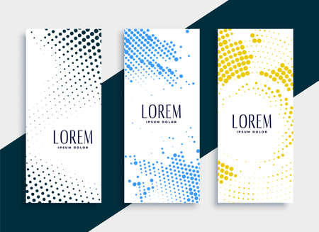 vertical halftone banners card set design