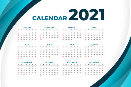 2021 modern calendar design with curve shape