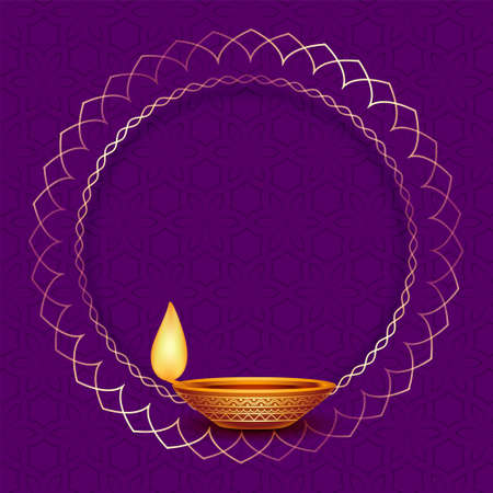diwali diya design with golden frame Vector Illustratie