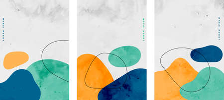 set of minimalist watercolor stains elements flyer