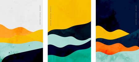 minimalist curve lines shape flyer set of three 일러스트