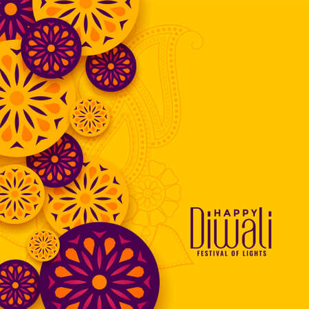 traditional happy diwali festival yellow greeting design