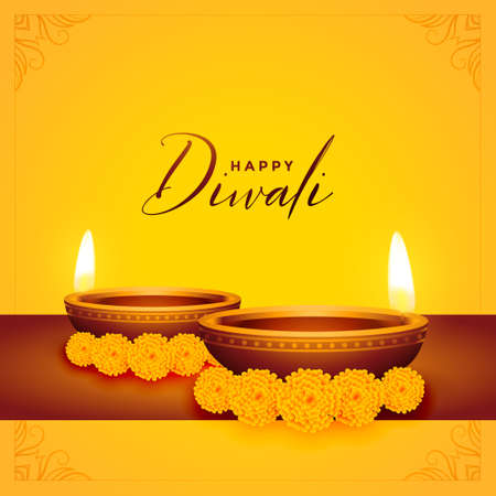 happy diwali yellow background with diya and flower Stock Illustratie