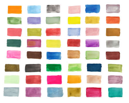 big set of hand painted watercolor textures in many colors Vetores