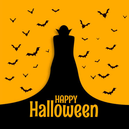 Happy halloween scary spooky card with wizard and bats Vettoriali