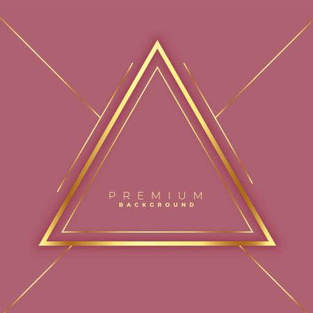 premium triangles golden lines frame background design