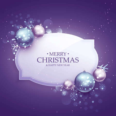 beautiful merry christmas decoration background in purple shade with realistic ballsbeautiful merry christmas decoration background in purple shade with realistic balls Illustration